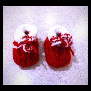 Christmas boots / booties for newborn - handmade